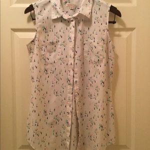 Merona White Sailboat Button-up Blouse.  Sz M